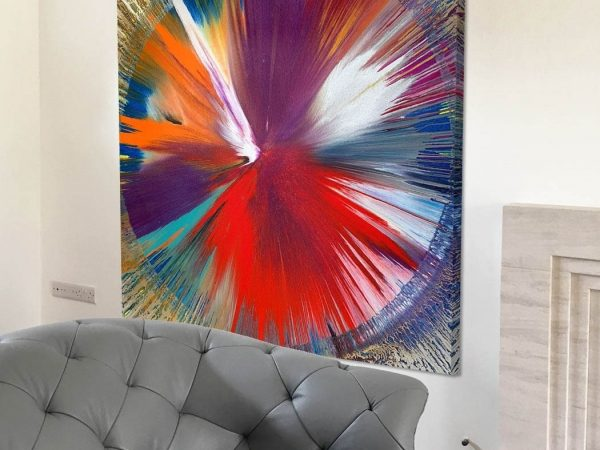 multi coloured spin painting