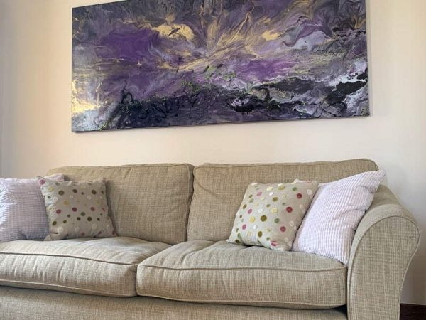 purple and gold abstract painting