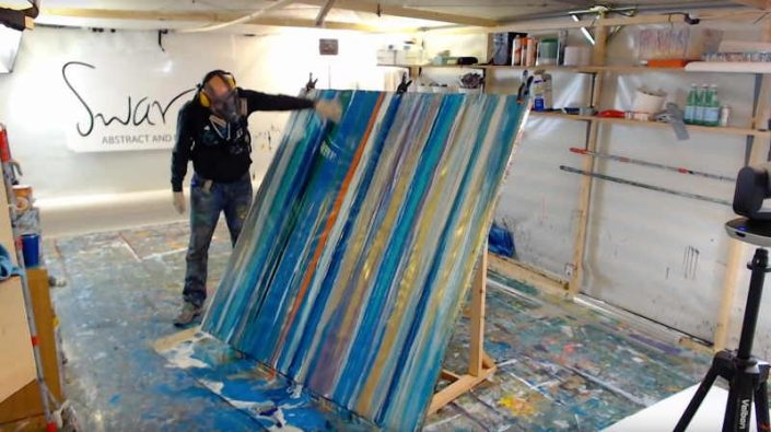 Live painting from Swarez HQ blue horizontal lines week