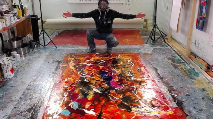 Live painting from Swarez HQ red and orange week