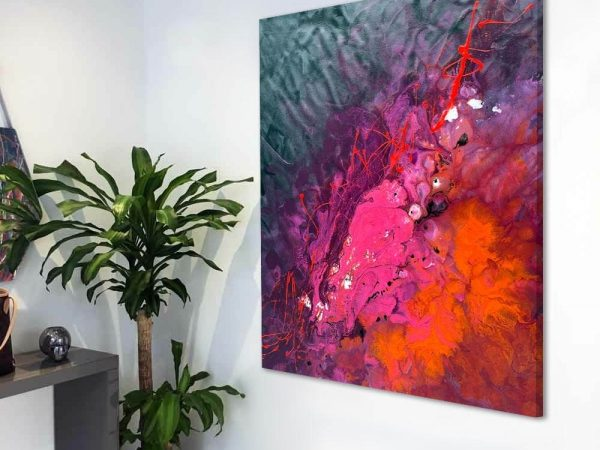 Red pink and orange abstract art