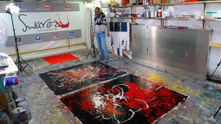 Live Swarez Painting - red, black and gold week