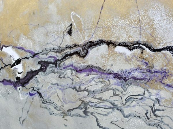 abstract art with purple gold and silver