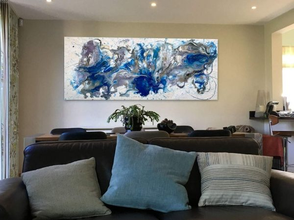 blue, white and gold abstract art