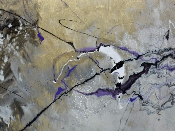 gold and purple paint on canvas
