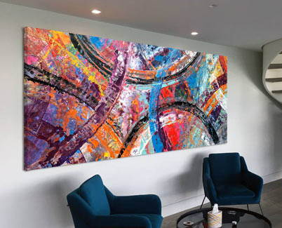 large multi coloured abstract art