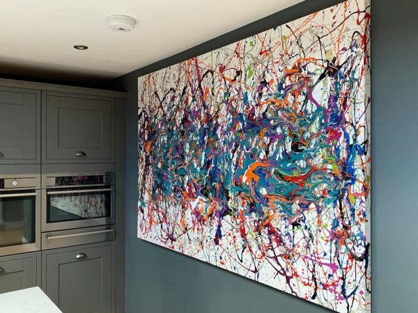 multi coloured Pollock style drip painting in a kitchen
