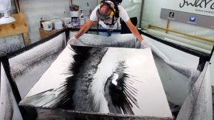 BLACK AND WHITE SPINNING PAINTINGS
