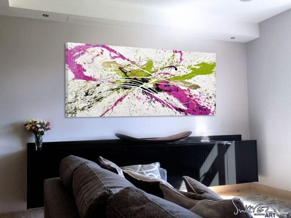 Green and pink-abstract-art-in-a-living-room