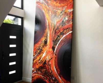 Tall painting leaning against a hallway wall