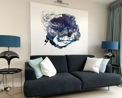 blue and black abstract minimal contemporary art in London townhouse