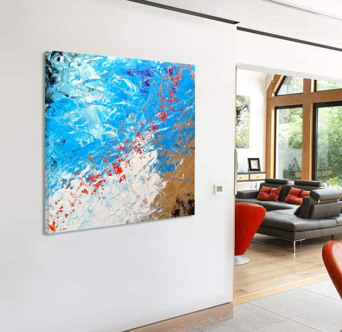 blue red and gold abstract painting