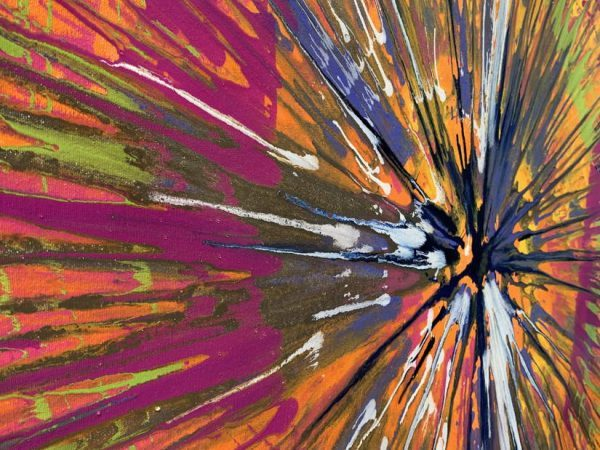 close up of spin painting details