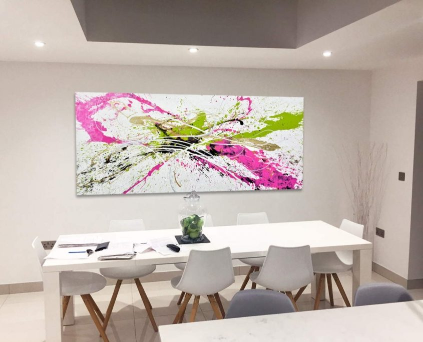 contemporary art above dining table