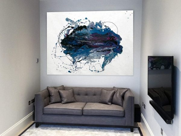 grey sofa with white and purple art hanging above it