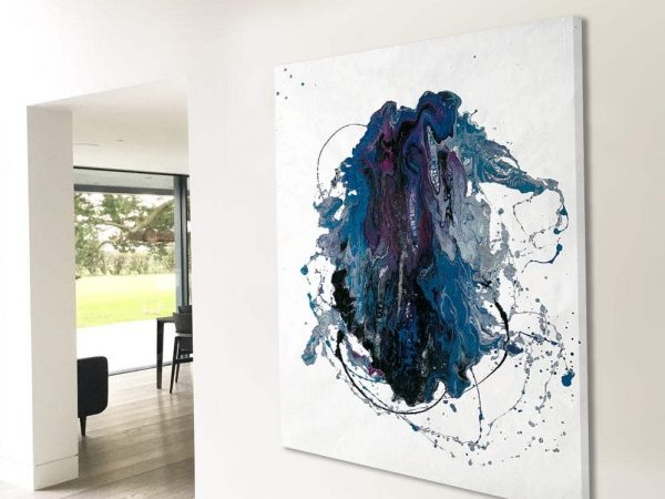 large blue and purple minimal art in open plan space