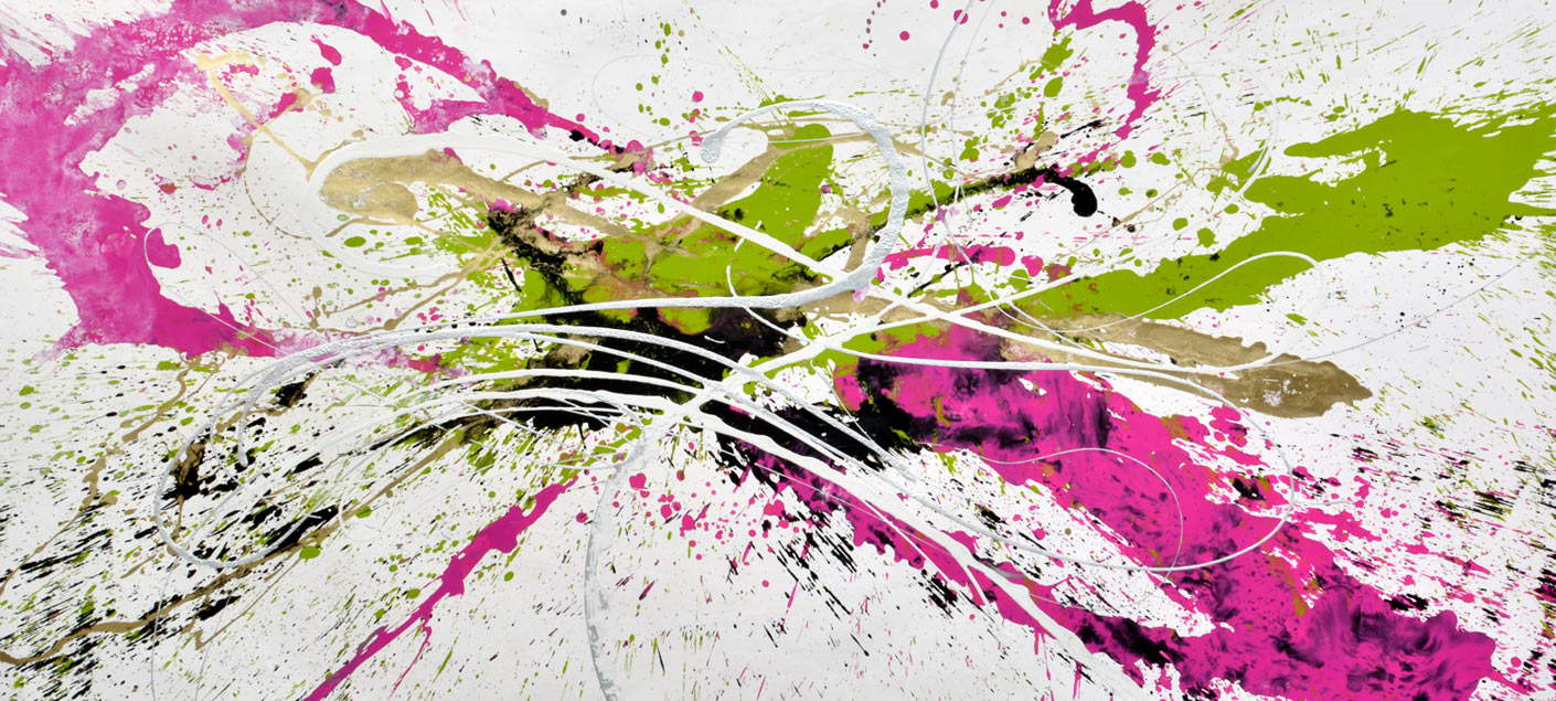 large pink and lime green abstract art