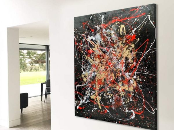 large sized red and black modern art painting