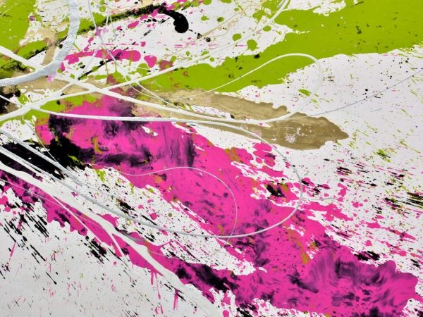 lime green and bright pink painting details