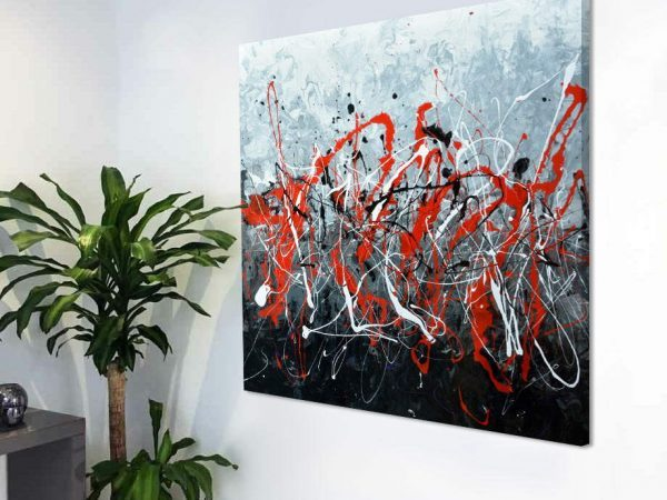 medium size abstract painting in red black and white