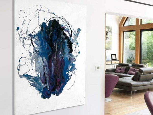 minimal blue and purple abstract painting