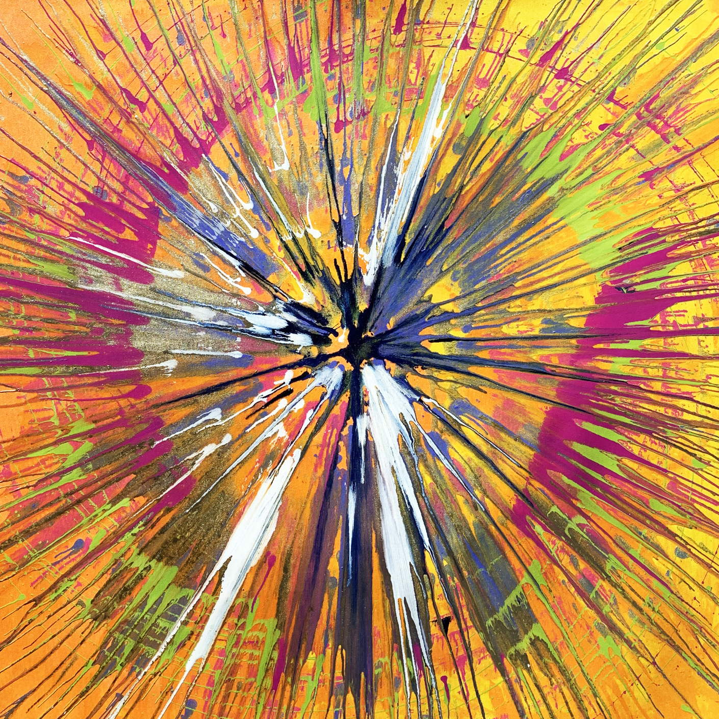 orange and pink spin painting