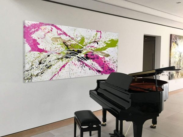 pink-and-lime-green-painting-by-a-grand-piano