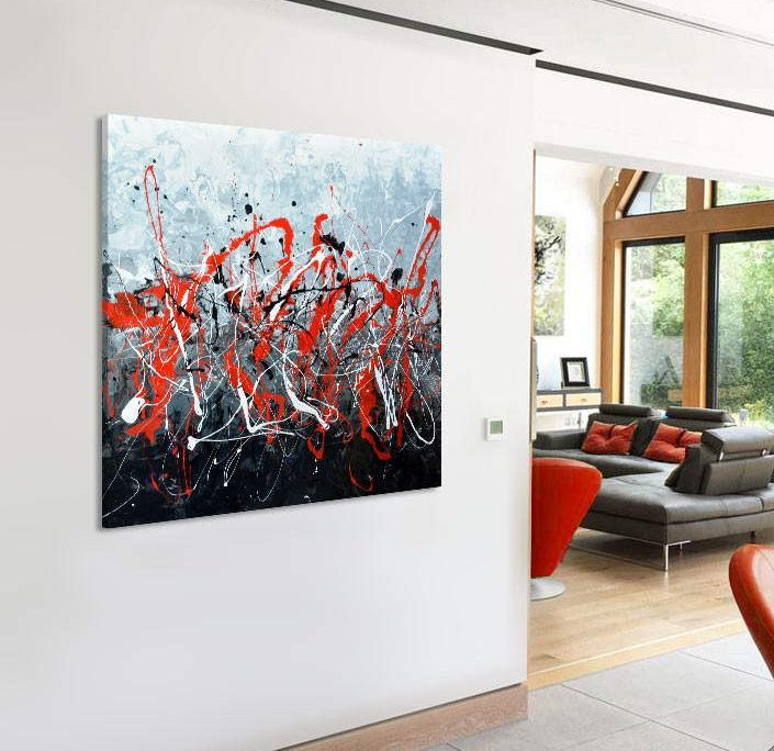 red black and white abstract art