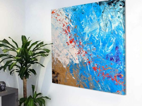 red white and blue small abstract art