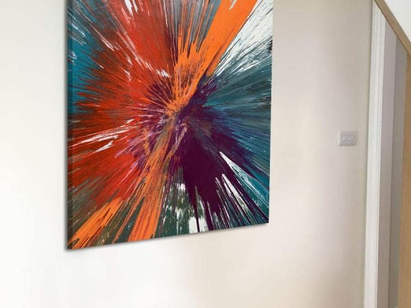 small abstract painting in a hallway