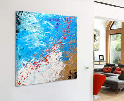 square red, blue and white original art with gold
