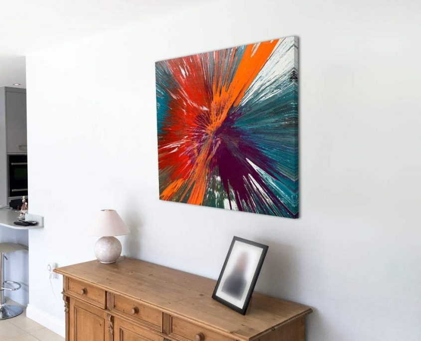 white wall with orange and purple abstract art