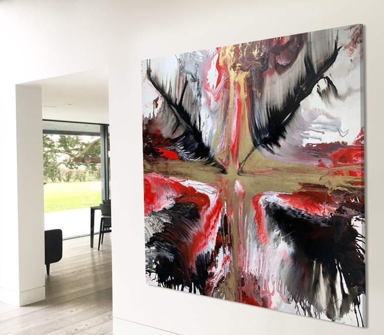 Galaxia - contemporary red, gold and black painting