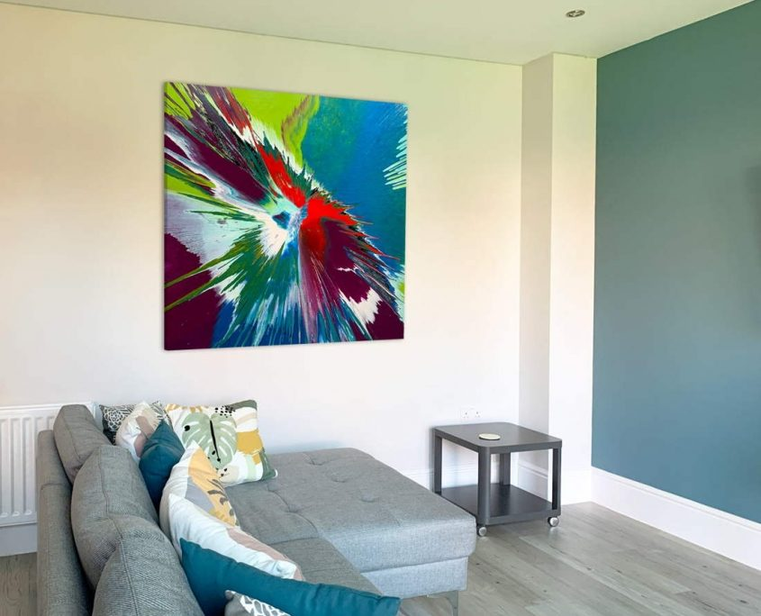 blue and green square painting in a modern room