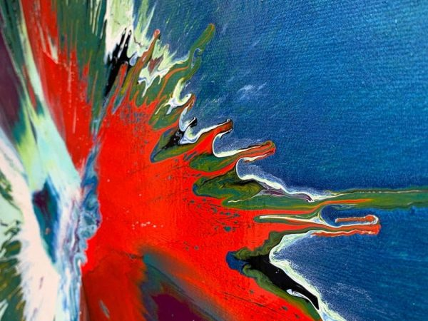 blue and red abstract paint strokes