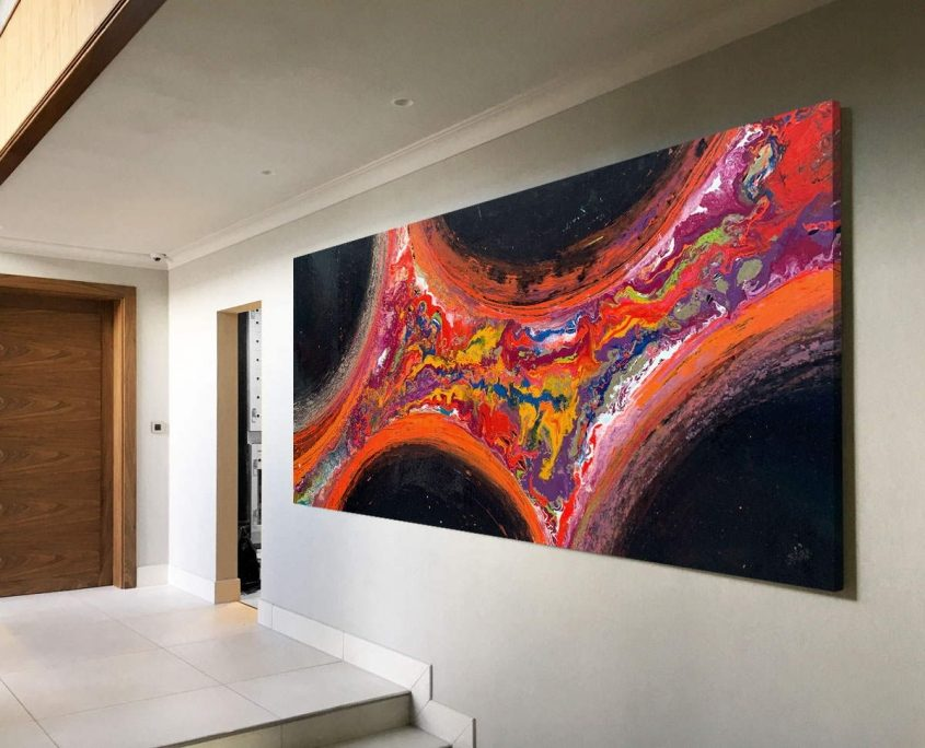 entrance space with a large painting