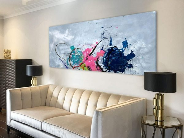 gold sofa and cloud inspired modern art
