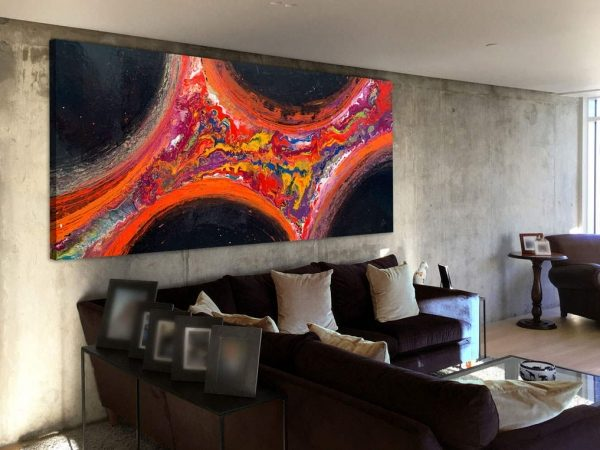 huge red and black original painting on a wall
