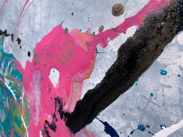 pink and black coloured paint on canvas