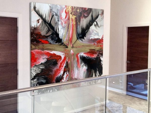 red black and gold star painting