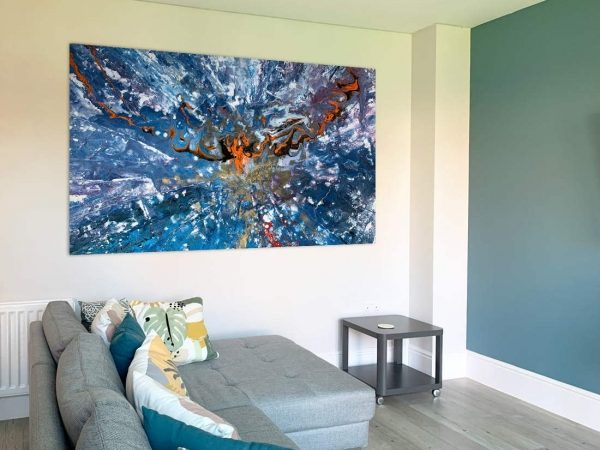 big blue painting in a modern living space