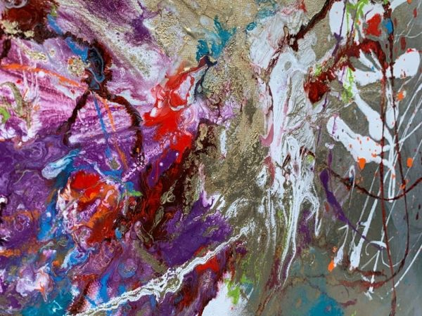 details of silver and purple paint on canvas