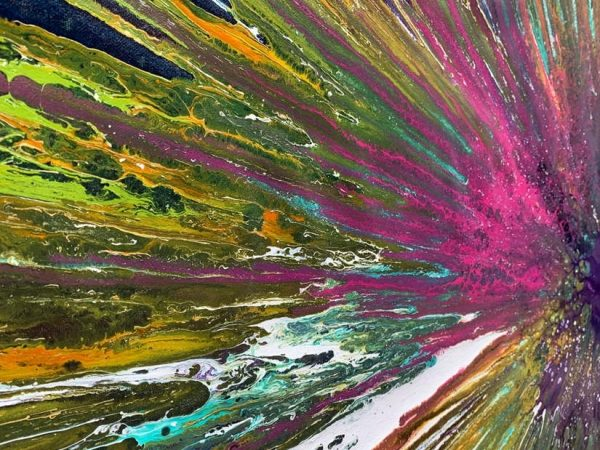 exploding paint on canvas