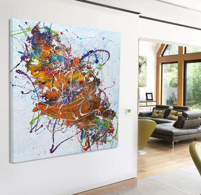 large abstract painting in an open plan space