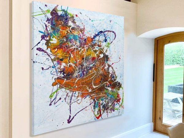 square abstract art in kitchen