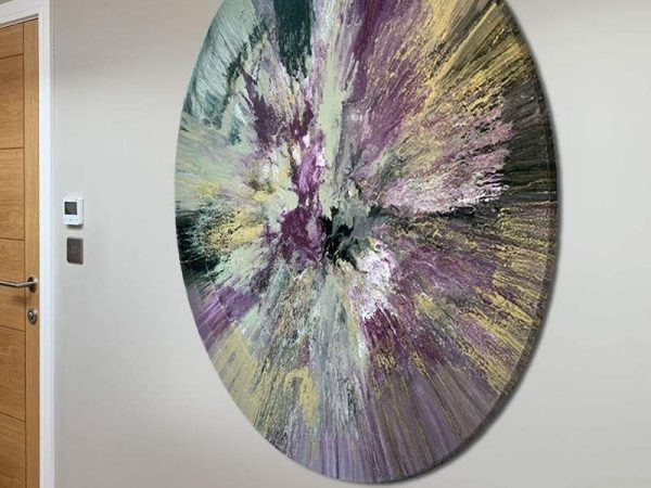 48 inch round painted canvas