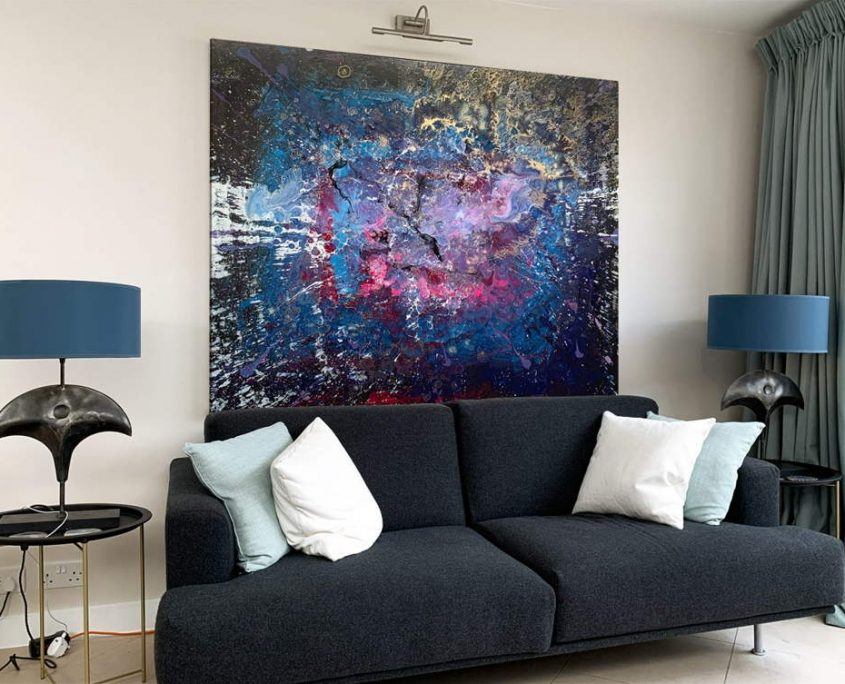 blue purple and black abstract painting