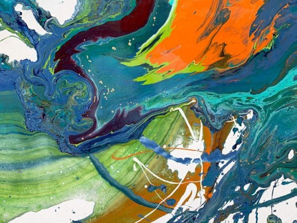 green abstract paint strokes
