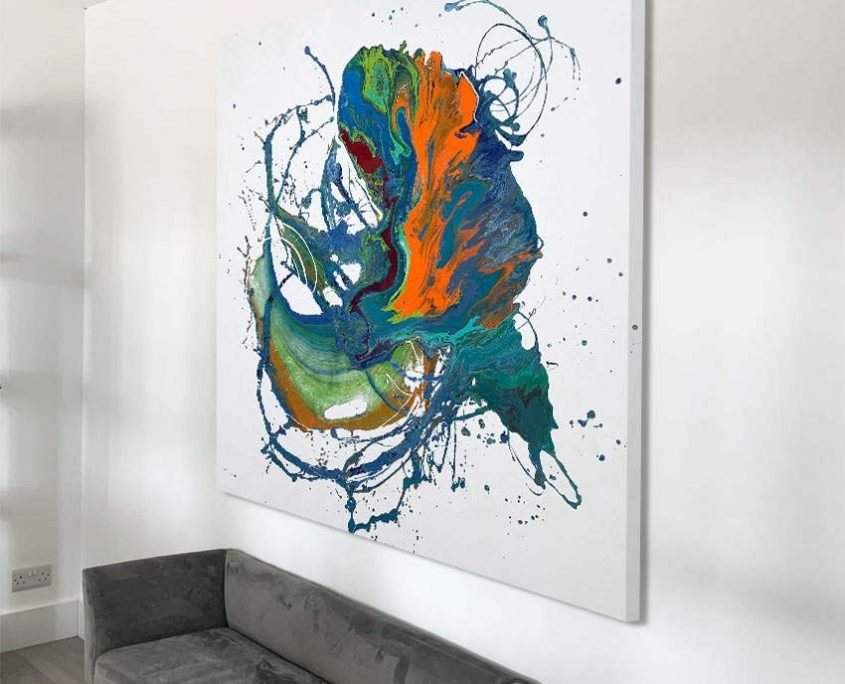 large abstract art on a wall