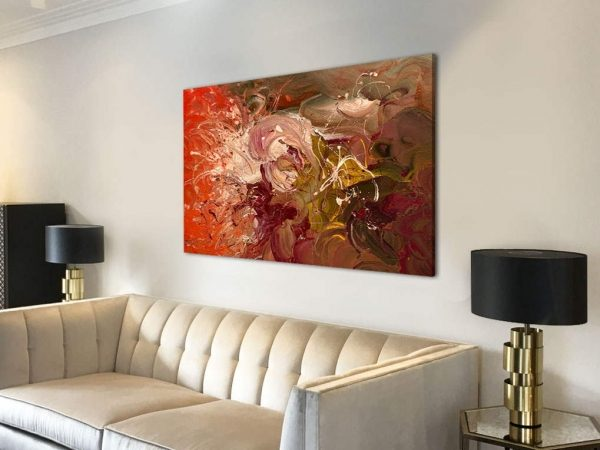 small maroon and orange abstract art